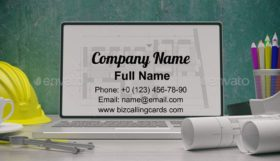 Plan on a laptop screen Business Card Template