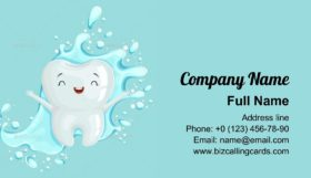 Cartoon Tooth Character Business Card Template