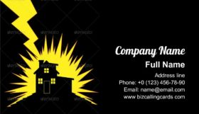 House Struck by Lightning Business Card Template