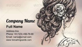 Girl bridal hairstyle Business Card Template