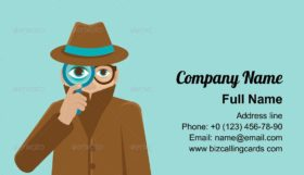 Detective Illustration in Flat Style Business Card Template