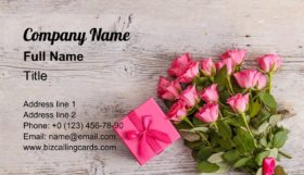 Floral with gift box Business Card Template