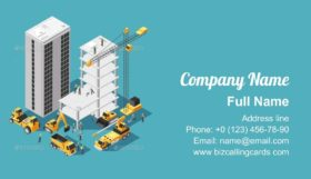 Isometric Building Construction Business Card Template
