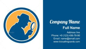 Detective Holding Magnifying Glass Business Card Template