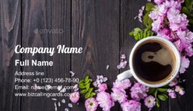 Floral with coffee cup Business Card Template
