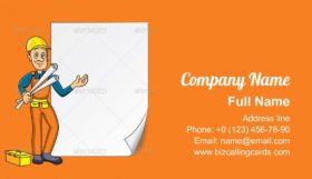 Engineer with Blank Paper Business Card Template