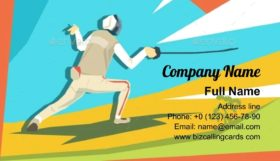 Fencing Athlete Fencer Business Card Template