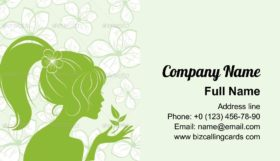 Girl Silhouette on Floral Business Card Template