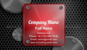 Metal Texture Button Business Card Template
