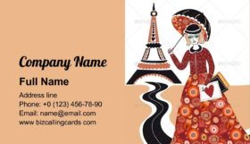 Fashion Woman in Paris Business Card Template