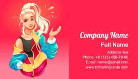 Girl with Large Zip Sweater Business Card Template