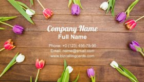 Circle of purple and red flowers Business Card Template