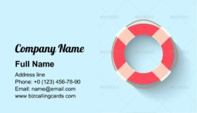 Life Buoy in Flat Style Business Card Template