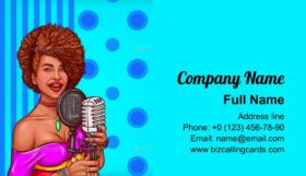 Black woman singer Business Card Template