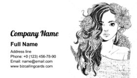 Young Woman with Flowers Business Card Template