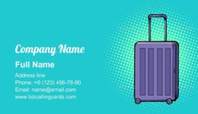 Travelling Suitcase on Wheels Business Card Template