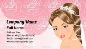 Portrait of a beautiful bride Business Card Template