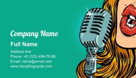 Vintage Retro Microphone Business Card Template