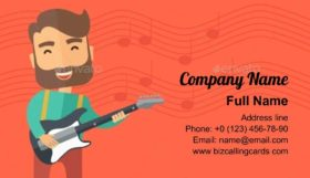 Musician Is Playing Electrical Guitar Business Card Template