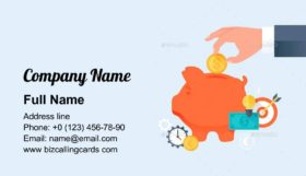 Piggy Bank with Hand Business Card Template