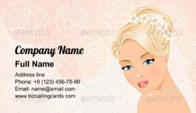 Beautiful Portrait of a bride Business Card Template