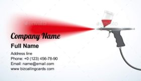 Airbrush with paint spray Business Card Template