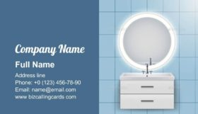 Washbasin Cabinet with Mirror Business Card Template