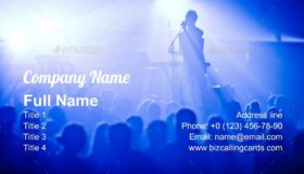 Signer in silhouette in front of a big crowd Business Card Template