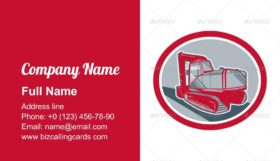 Mechanical Excavator Retro Business Card Template