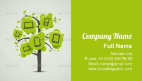 Tree with Electronic Icons Business Card Template