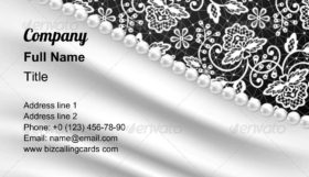 Silk Drapery and Pearl Necklace Business Card Template