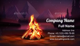 Night Campfire Composition Business Card Template