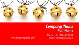 Golden Jingle Bells Business Card Template