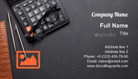 Calculator, pen and glasses Business Card Template