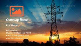 Power lines on a sunrise Business Card Template