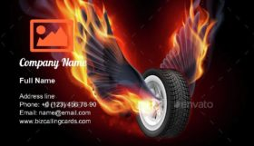 Wheel with Fire Wings Business Card Template