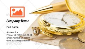Watch and pen at paper Business Card Template