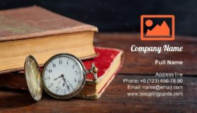 Books and pocket watch Business Card Template