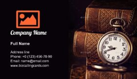 Old vintage books and a watch Business Card Template