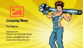 Woman with a Wrench Business Card Template