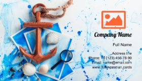 Wooden Anchor on Sea Business Card Template