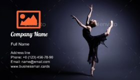 Young Ballerina in a Suit Business Card Template