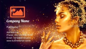 Girl with Golden Makeup Business Card Template