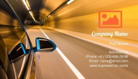 Tunnel with Car Driving Business Card Template