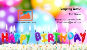 Happy Birthday Candles Business Card Template