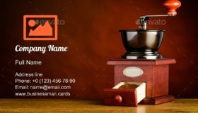 Wooden Coffee Grinder Business Card Template