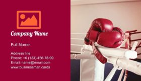 Boxing Gloves and Ring Business Card Template
