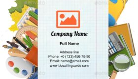 Exercise Book Sheet Business Card Template