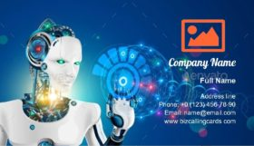 Robot with Artificial Intelligence Business Card Template