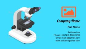 Isometric concept of microscope Business Card Template